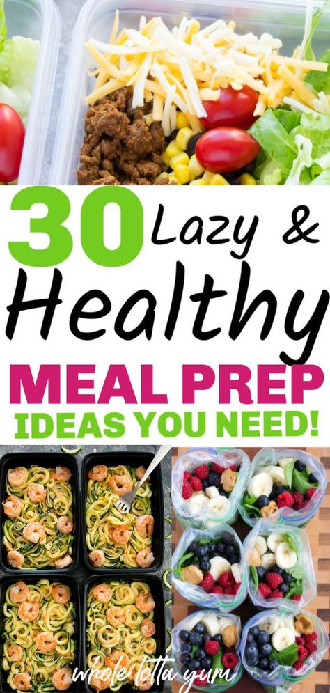 30 easy meal prep recipes that are healthy and make weight loss easier. Healthy meal prep for the week for beginners for breakfast, lunch and dinner. meals for beginners 30 Healthy Meal Prep Recipes Healthy Dinner Recipes For Weight Loss, Easy Healthy Meal Prep, Weight Loss Meals, Easy Healthy Recipes, Healthy Drinks, Meal Prep Recipes, Healthy Foods, Health Recipes, Healthy Premade Meals