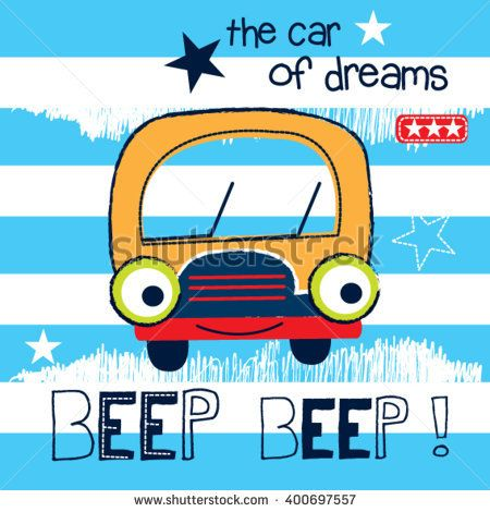 Cute Car Cartoon On Striped Background Vector Illustration Com