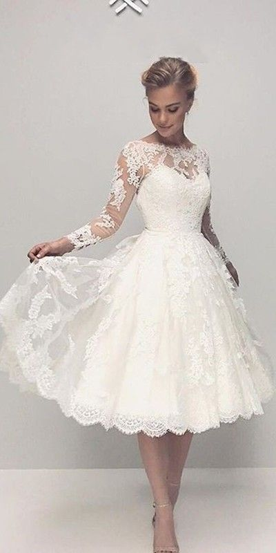 Tea Length Long Sleeve Lace Wedding Dress,Informal Modest Short