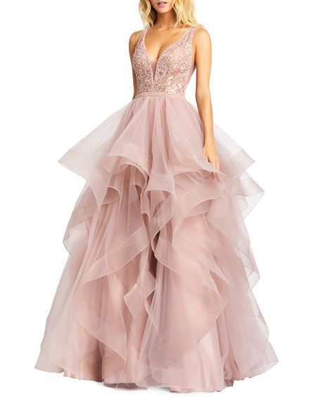 Mac Duggal Sleeveless Ruffle Tiered Organza Ball Gown In 2020 Mac Duggal Prom Dresses Pretty Prom Dresses Cute Prom Dresses