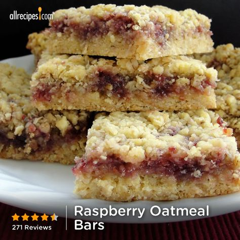 "Raspberry Oatmeal Bars | ""Quick, easy, and delicious dessert! I've used raspberry, strawberry, and blackberry jam."""