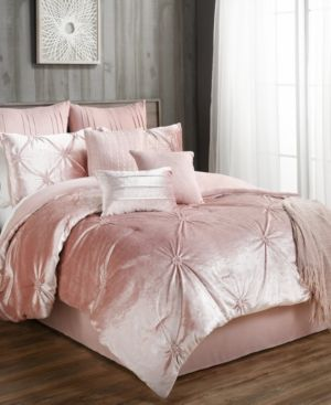 Blush Pink Bedding Sets.Sherrie 10 Pc Velvet California King Comforter Set Pink