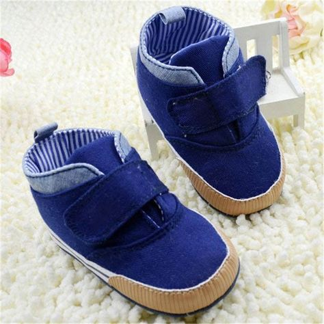 7814141a1cde Newborn Baby Kid Boy Crib Shoes Anti-Slip Toddler Ankle Boots Canvas  Prewalker First Walkers 0-18M  Affiliate