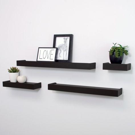 34a9075c4c Amazon.com: Kiera Grace Vertigo Set of 4 Ledge Shelves, 6 Inch, 12 Inch, 20  Inch, 24 Inch - Black: Home & Kitchen