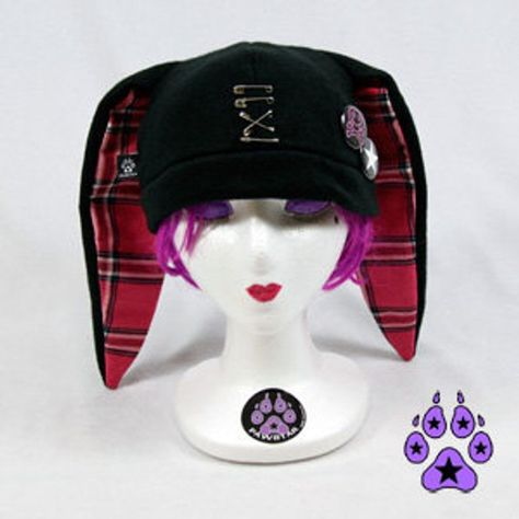 Pawstar SAFETY PIN BUNNY Hat - Punk Rock Beanie Plaid Red Black White Grey Gray Red Pink Purple Jroc
