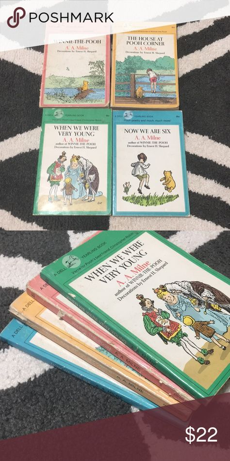 1970s set of A.A. Milne Winnie the Pooh books They are in used condition with multiple signs of wear on the cover  The pages themselves are in excellent condition with some coloring from age Disney Accents Coffee Table Books