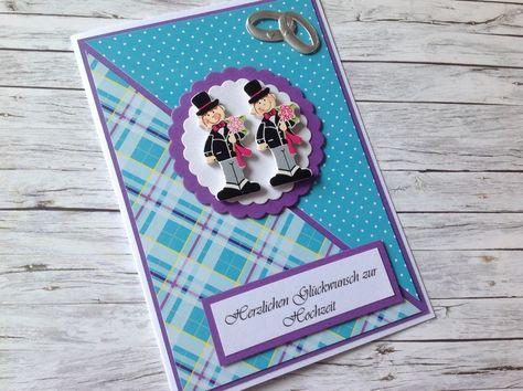 Hochzeit - Hochzeitskarte für zwei Männer (Lila-Türkis) - ein Designerstück von MfG-KR bei DaWanda