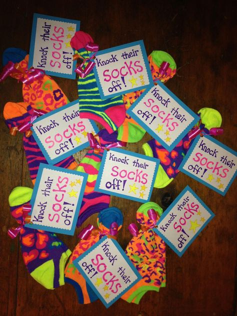 Knock their socks off! One of the items in gift bags for traveling dance team. Cheer Team Gifts, Dance Team Gifts, Cheer Camp, Cheer Coaches, Cheerleading Gifts, Volleyball Gifts, Cheer Treats, Volleyball Team Gifts, Dance Good Luck Gifts