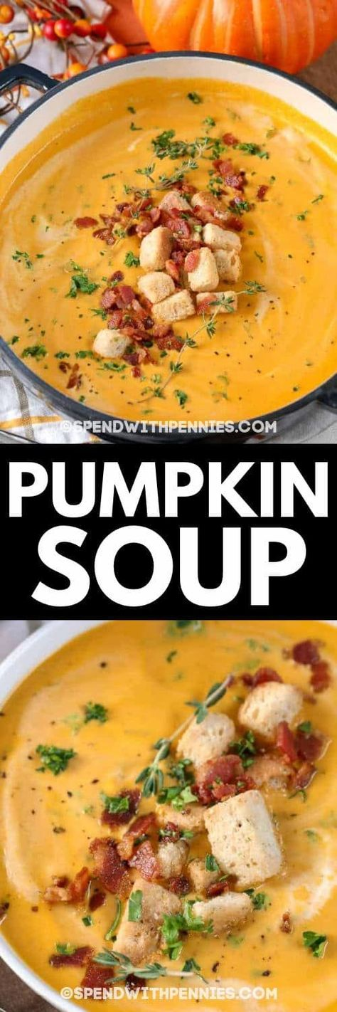 You will learn how to make pumpkin soup with this easy to follow recipe! It is loaded with bacon, pumpkin, and spices for the ultimate comfort food in a bowl! #spendwithpennies #pumpkin #pumpkinsoup #soup #bisque #creamy #pumpkins