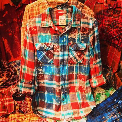 Ombré Distressed Flannel Shirt / 100% Cotton | Etsy