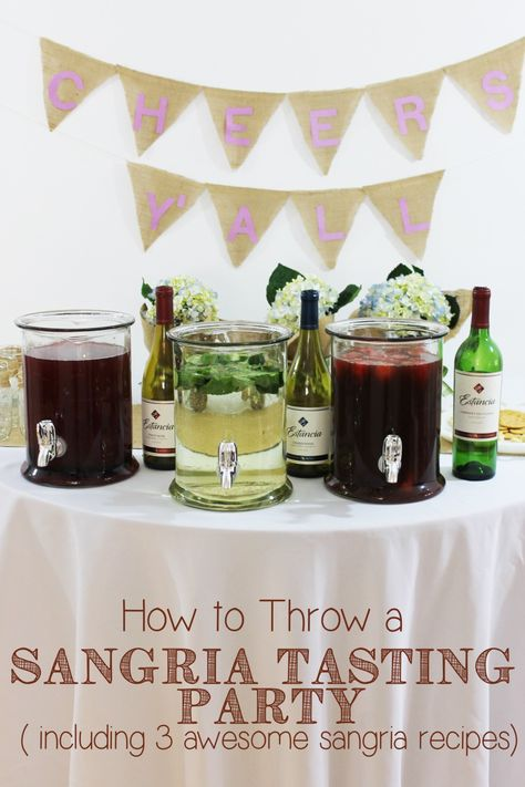 How great is this sangria tasting party? I can't wait to try each sangria recipe, they're perfect for a spring bridal shower or bachelorette party!