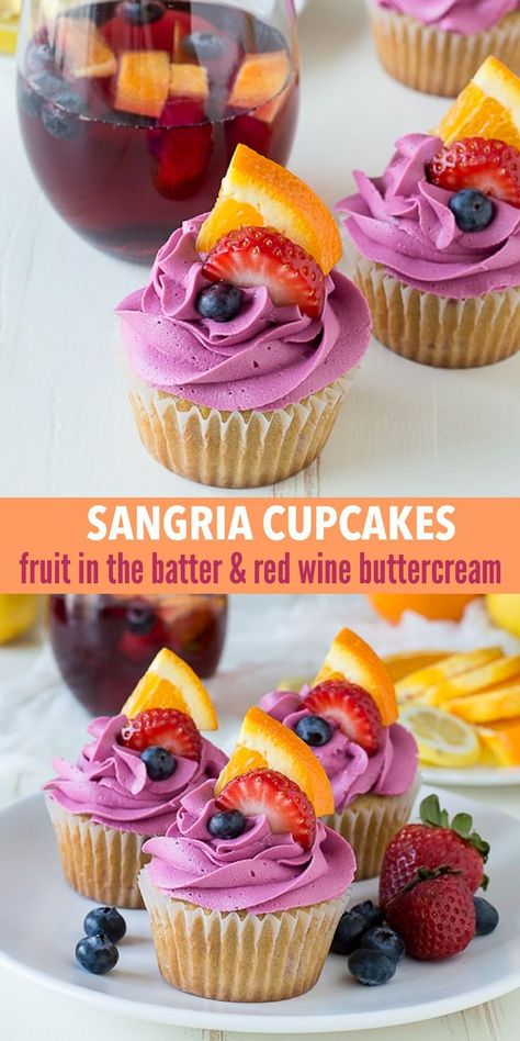 Sangria Cupcakes are made with fruit in the batter and a red wine buttercream, these are the perfect party boozy cupcakes!These Sangria Cupcakes are made with fruit in the batter and a red wine buttercream, these are the perfect party boozy cupcakes! Köstliche Desserts, Delicious Desserts, Dessert Recipes, Delicious Cupcakes, Bakery Recipes, Easy Cheesecake Recipes, Easy Cookie Recipes, Good Cupcake Recipes, Summer Cupcake Flavors