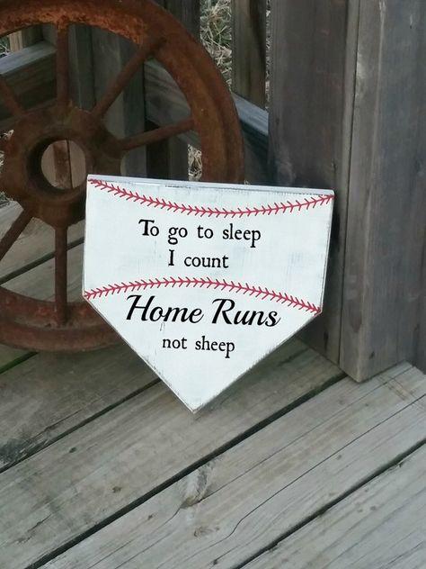 Baseball Nursery Decor - To Go To Sleep I Count Homeruns Not Sheep - Baby Baseball Sign - Baseball Decor Baby - Baseball Sign - Home Plate by RusticLaneCreations on Etsy https://www.etsy.com/listing/271005101/baseball-nursery-decor-to-go-to-sleep-i