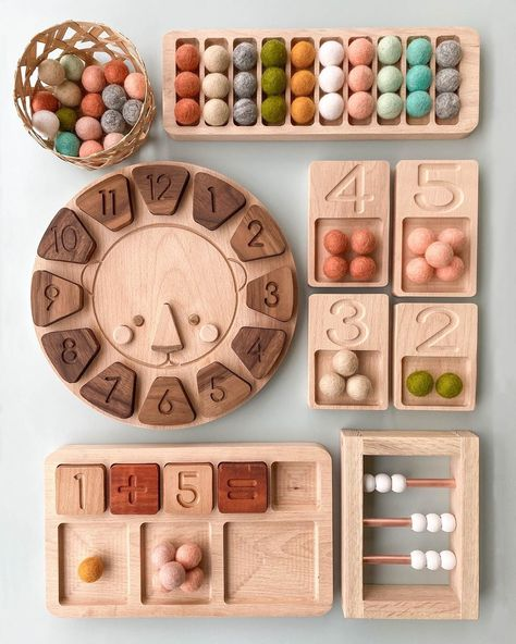 These cute little educational toys make learning fun! Montessori Playroom, Montessori Toddler, Montessori Activities, Infant Activities, Toddler Toys, Educational Activities, Diy Sensory Board, Baby Sensory, Wooden Educational Toys