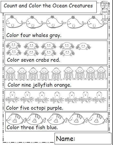 Ocean Animals Kindergarten Worksheets Kindergarten Math Worksheets Preschool Worksheets