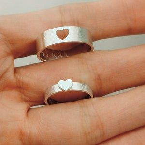 Set of 2 Matching Heart Stamped Rings