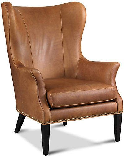 Tristen Wingback Chair Saddle Leather Leather Wingback Chair