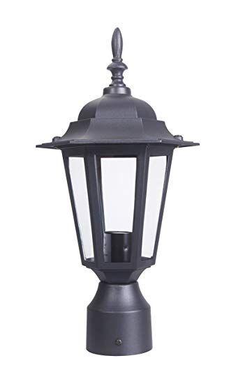 Lit Path Outdoor Post Light Pole Lantern Lighting Fixture With One E26 Base Max 60w Aluminum Housing Plus Glass Matte Black Finish Black Review Post Lights Outdoor Post Lights Lantern Lights