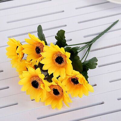 Artificial Flower Sunflower Simulation 7 Head Bouquet Fake Garden Home Decors Fashion Home Garden H In 2020 Artificial Flowers Fake Flowers Artificial Silk Flowers