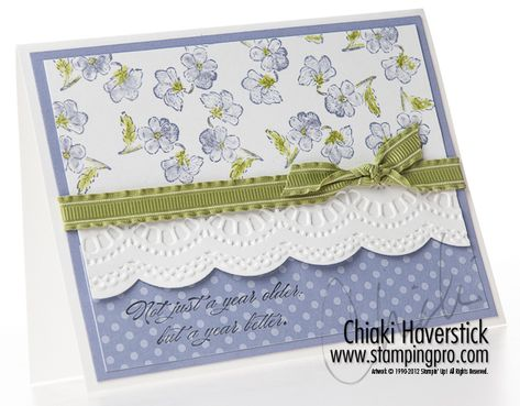 Tea Shoppe and Bring on the Cake stamp sets; Basic Black, Wisteria Wonder and Lucky Limeade inks/cardstock/DSP; Large Scallop Edgelit; Delicate Designs TIEF; Lucky Limeade ribbon