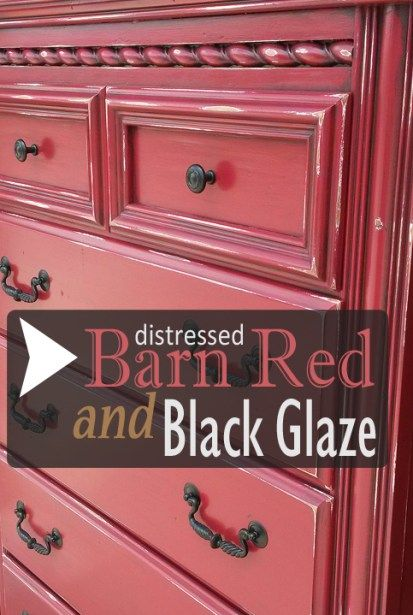 Nice Distressed Barn Red Chest Of Drawers With Black Glaze