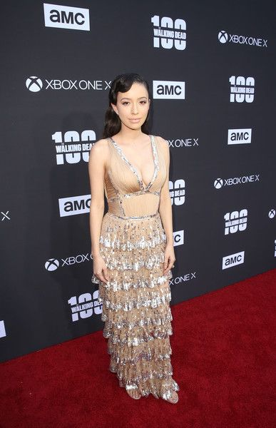 Christian Serratos arrives at 'The Walking Dead' 100th Episode Premiere and Party.