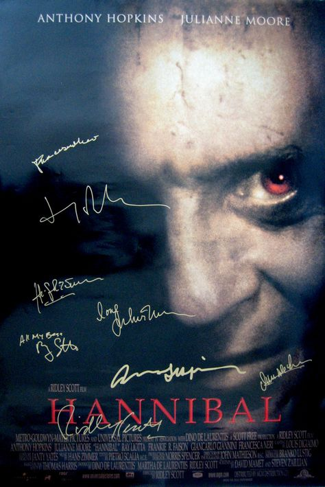 HANNIBAL original 27x40 movie poster cast signed by Anthony Hopkins,