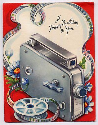 Vintage 1950s Movie Camera Film Birthday Greeting Card Birthday Greeting Cards Birthday Greetings Vintage Birthday
