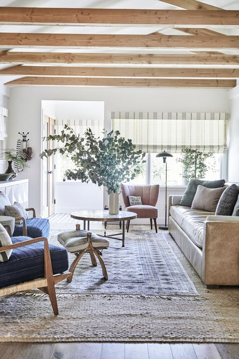 Sunny Living Room with Exposed Beams