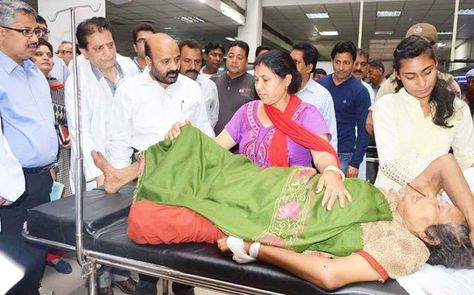 Minister For Health Bali Bhagat During Visit To Emergency Wards Of