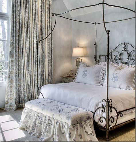 The Enchanted Home: Which would you choose?  Blue and white master elegant canopy bed