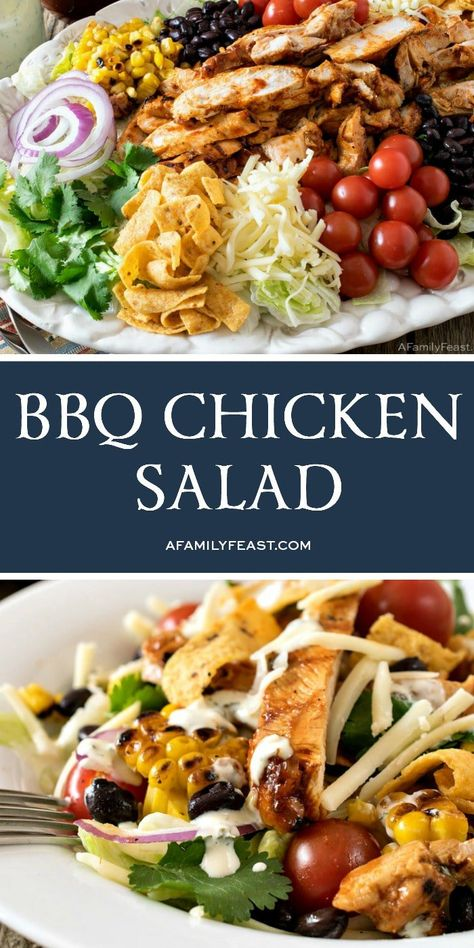 This BBQ Chicken Salad has crispy lettuce topped with tender, BBQ grilled chicken, grilled corn, black beans, shredded cheese and more! recipes BBQ Chicken Salad Recipe - A Family Feast® Grilled Bbq Chicken, Bbq Chicken Salad, Chicken Salad Recipes, Lettuce Recipes, Best Grilled Chicken Salad Recipe, Bbq Salads, Healthy Salads, Healthy Recipes, Salads With Meat