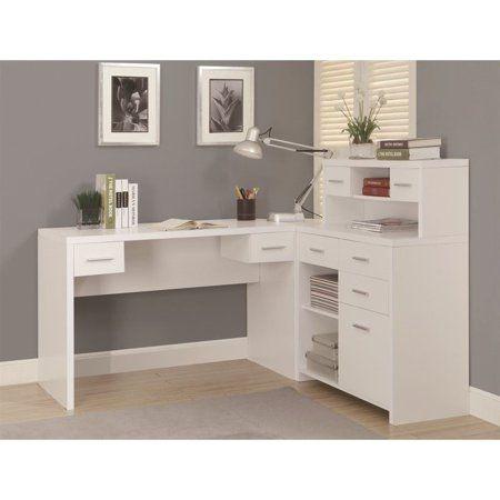 Monarch Hollow Core L Shaped Home Office Desk White Walmart Com White Corner Desk Home Office Desks White L Shaped Desk