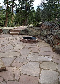 Good Flagstone Patio  Use Large Random Limestone And Large Boulders On  Periphery
