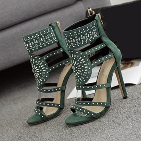 a7375d288c5 Women Fashion Stick A Drill Sandals Exotic High Heels Summer Luxury Dress  Shoes