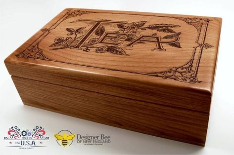 Wood Tea Box - Our Classic Vintage Design-Heirloom Quality-Store and Serve Your Favorite Teas in Sty