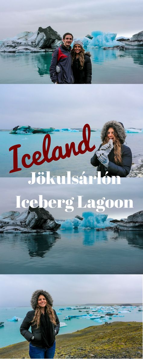 Jökulsárlón Iceberg Lagoon: It is one of the most impressive lagoons we have ever seen. The lagoon is full of giant blue icebergs floating around the lagoon as the Breiðamerkurjökull glacier is slowly melting. #iceland #travel #traveltips #travelling #travelblogger #travelblog