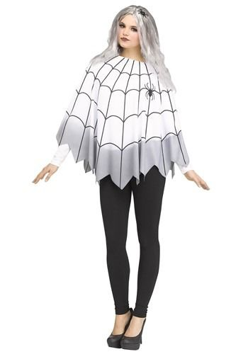 Instant Halloween Costume NEW Ombre Spider Web Pattern Poncho Fits Most