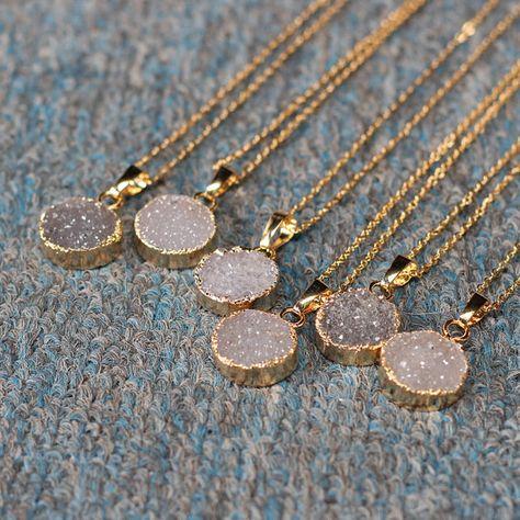 Round Agate Druzy Necklace Handmade Drusy Geode Necklace wedding party birthday jewelry DJ-1
