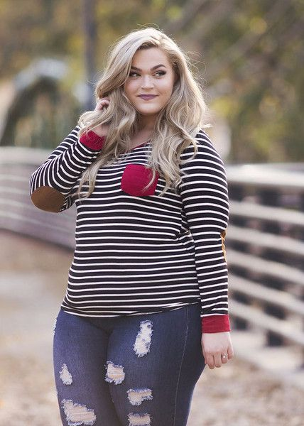 plus size clothing for women - plus size elbow patch top (sizes 12