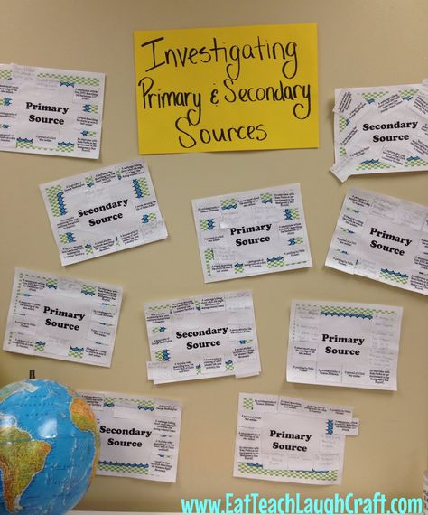 Investigating Primary & Secondary Sources in Social Studies {Hands on Activity!} | Eat Teach Laugh Craft