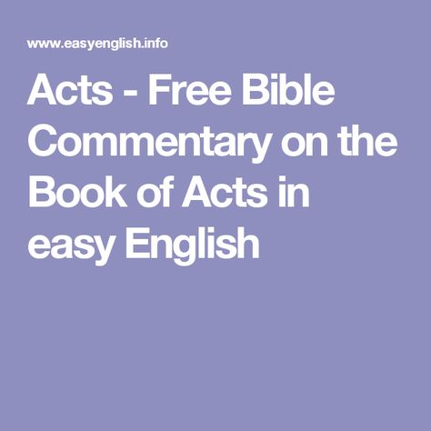 Acts - Free Bible Commentary on the Book of Acts in easy English
