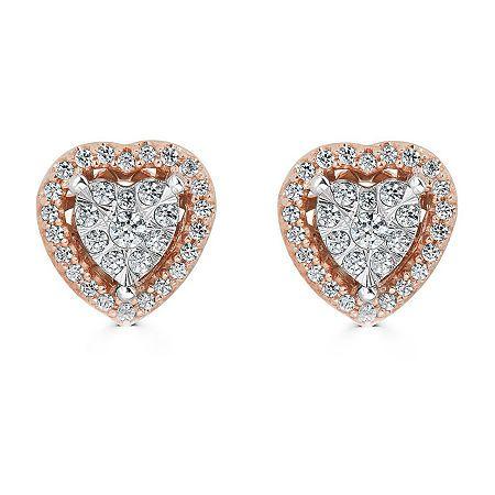Diamond Clarity: I3Earring Back: FrictionSetting: Multi-SettingShape: HeartStone: DiamondStone Cut: RoundDiamond Color: I-JMetal Color: RoseEarring Length: 8.1mmEarring Width: 7.7mmRounded Carat Weight: 1/4 Ct. T.w.Metal: 10k Rose GoldCare: Polishing ClothStone Type: 64 Genuine DiamondAuthenticity: Genuine StoneCountry of Origin: Imported