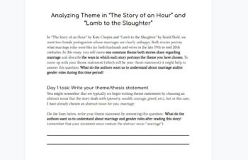 Short Story Theme Literary Analysi Essay By Mrsdover Teacher Pay On The Of An Hour