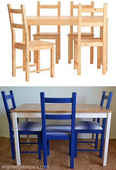 Transformer Des Chaises Ikea Et Une Table Pour Les Rendre Plus Luxueux Table Et Chaises Ikea Chaise Ikea Et Ikea