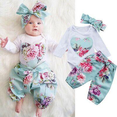 UK Sweet Newborn Baby Girls Floral Romper Bodysuit Jumpsuit 2PCS Outfit Clothes