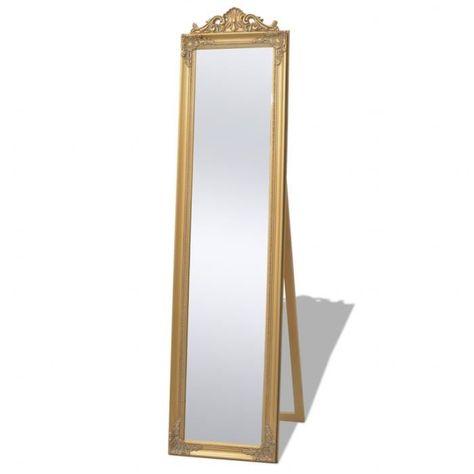 Vidaxl Miroir Sur Pied Style Baroque 160 X 40 Cm Dore Miroir Sur