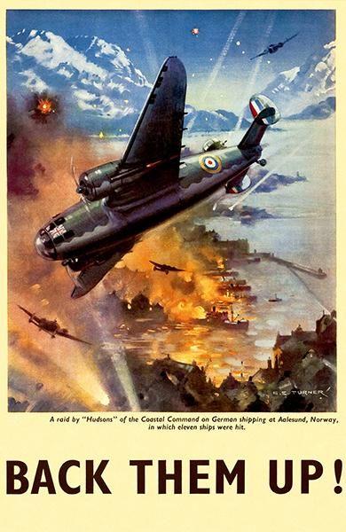 Vintage WW2 British Military Poster Back Them Up 24x36