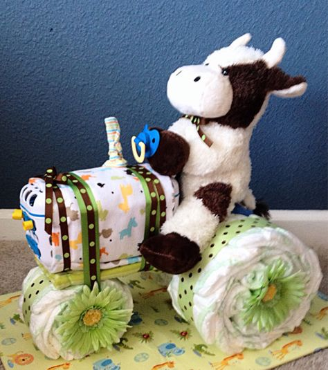 Tractor diaper cake by Uponamonkey on Etsy