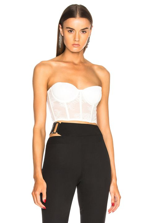 9a0ceb9ab2263 Image 1 of fleur du mal Strapless Bustier Top in Snow ...